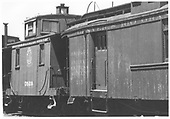 Short caboose #528 and coach-baggage #213 in Alamosa, CO.<br /> D&amp;RGW  Alamosa, CO  Taken by Rogers, Donald E. A. - 7/28/1935