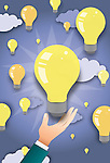 Illustrative image of hand touching lit bulb representing business idea