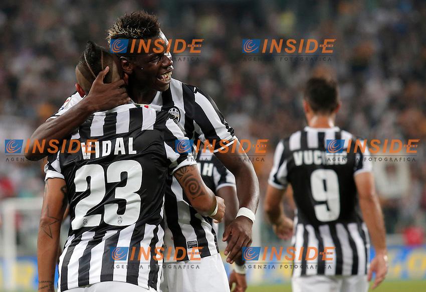 Esultanza dopo il gol di Arturo Vidal Juventus, Goal Celebration,<br /> Torino 31-08-2013<br /> Juventus Stadium <br /> Football Calcio 2013/2014 Serie A <br /> Juventus - Lazio <br /> Foto Marco Bertorello Insidefoto