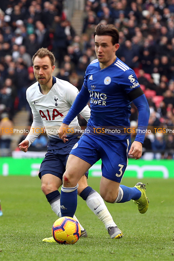 Ben Chilwell of Leicester City and Christian Eriksen of Tottenham Hotspur during Tottenham Hotspur vs Leicester City, Premier League Football at Wembley Stadium on 10th February 2019