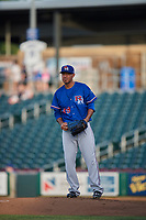 Round Rock Express starting pitcher Yovani Gallardo (49) delivers a pitch to the plate against the Omaha Storm Chasers  at Werner Park on May 27, 2018 in Papillion , Nebraska. Round Rock defeated Omaha 8-3. (Stephen Smith/Four Seam Images)
