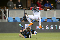 San Jose, CA - Saturday May 19, 2018: Darren Mattocks, Jackson Yueill during a Major League Soccer (MLS) match between the San Jose Earthquakes and D.C. United at Avaya Stadium.