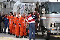 Launch Rehearsal !!! Endeavor crew waves to press, before boarding an Airstream to head to the launch pad, shortly before  NASA halted the countdown to liftoff due to mechanical woes at Kennedy Space Center, Cape Canaveral, Florida, USA, Friday, April 29, 2011. Photo by Debi Pittman Wilkey