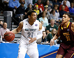 SIOUX FALLS, SD: MARCH 22: Xavier Kurth #21 of Northwest Missouri State drives toward St. Thomas Aquinas defender Justin Reyes #21 during the Men's Division II Basketball Championship Tournament on March 22, 2017 at the Sanford Pentagon in Sioux Falls, SD. (Photo by Dick Carlson/Inertia)