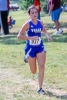 Valle Catholic sophomore Sally Heil nears the finish of the 1A-2A Varsity 5k race, placing 13th in 22:51 at the Hancock Cross Country Invitational at Jefferson Barracks Park in St. Louis, MO. Saturday, September 28.