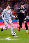 Iago Aspas of Spain (L) in action against Marcos Rojo of Argentina (R) during the International Friendly 2018 match between Spain and Argentina at Wanda Metropolitano Stadium on 27 March 2018 in Madrid, Spain. Photo by Diego Souto / Power Sport Images