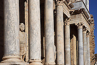 Pluto in between of the columns of the scenae frons, built in 105 AD and restored between 333 and 335 AD; Replica of the original sculpture dated 1st Century AD, in safe custody at the National Museum of Roman Art since 1986; Roman Theatre, built in 16 - 15 BC, promoted by Marcus Vipsanius Agrippa (63 BC-12 BC), Merida (Augusta Emerita, Capital of Hispania Ulterior), Extremadura, Spain