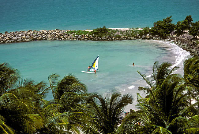 Windsurfing, beach, town of Le Gosier, Grande Terre, Guadeloupe, French West Indies