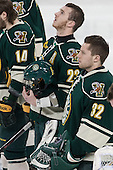 Connor Brickley (UVM - 23), Billy Faust (UVM - 32) - The Boston College Eagles defeated the visiting University of Vermont Catamounts to sweep their quarterfinal matchup on Saturday, March 16, 2013, at Kelley Rink in Conte Forum in Chestnut Hill, Massachusetts.