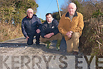 Residents of the Mountcoal Road which is used by up to 100 cars  are calling on the council to fix the road as soon as possible as its condition is extremely dangerous. .L-R Tony Fitzmaurice, Maurice Galvin and Cllr Tim Buckley.