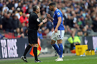 Callum Paterson of Cardiff City argues with assistant referee Darren Caanduring Tottenham Hotspur vs Cardiff City, Premier League Football at Wembley Stadium on 6th October 2018