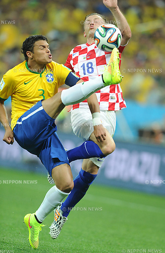 Thiago Silva (BRA), Ivica Olic (CRO), JUNE 12, 2014 - Football / Soccer : FIFA World Cup Brazil 2014 Group A match between Brazil 3-1 Croatia at Arena de Sao Paulo in Sao Paulo, Brazil. (Photo by SONG Seak-In/AFLO)