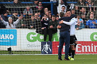 Dover Manager, Andy Hessenthaler celebrates at the final whistle with Ruel Sotiriou who scored the only goal of the match during Dover Athletic vs Southend United, Emirates FA Cup Football at the Crabble Athletic Ground on 10th November 2019