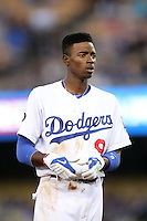 Los Angeles Dodgers shortstop Dee Gordon #9 during a game against the Cincinnati Reds at Dodger Stadium on June 14, 2011 in Los Angeles,California. (Larry Goren/Four Seam Images)
