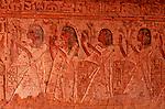 Bas-relief coloré  du  tombeau de Pennout, vice roi du nord de la Nubie sous Ramses VI  dans le temple d Amada. Lac Nasser. Egypte
