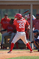 Philadelphia Phillies Jose Tortolero (33) at bat during an Instructional League game against the Detroit Tigers on September 19, 2019 at Tigertown in Lakeland, Florida.  (Mike Janes/Four Seam Images)