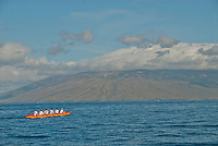 Hawaiian outrigger canoe with  west maui as background.