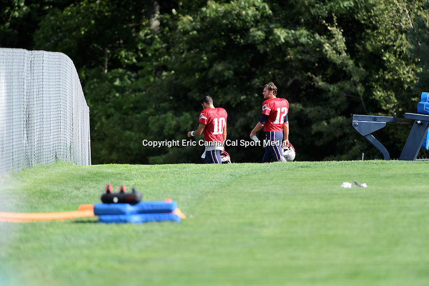 Monday, August 8, 2016: New England Patriots quarterback Jimmy Garoppolo (10) and quarterback Tom Brady (12) walk together at a joint training camp session between the Chicago Bears and the New England Patriots held at Gillette Stadium in Foxborough Massachusetts. Eric Canha/CSM