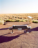 USA, Arizona, historic car bumper, Petrified Forest National Park, Painted Desert