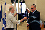 Israel, Prime Minister Benjamin Netanyahu with Alan Patterson at the reinterment ceremony of Patterson's grandfather Lieutenant Colonel John Henry Patterson