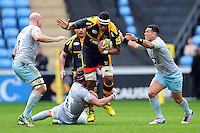Nathan Hughes of Wasps takes on the Northampton Saints defence. Aviva Premiership match, between Wasps and Northampton Saints on April 3, 2016 at the Ricoh Arena in Coventry, England. Photo by: Patrick Khachfe / JMP
