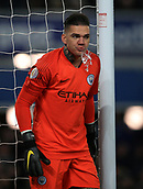 6th February 2019, Goodison Park, Liverpool, England; EPL Premier League Football, Everton versus Manchester City; Ederson of Manchester City spits water after taking a drink from his bottle