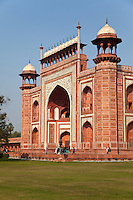 Agra, India.  Taj Mahal.  Gateway Entrance opening to the Taj and its Gardens.