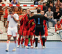 20200201 Herentals , BELGIUM :  Belgian players celebrate their goal during a futsal indoor soccer game between the Belgian Futsal Devils of Belgium and Montenegro on the third and last matchday in group B of the UEFA Futsal Euro 2022 Qualifying or preliminary round , Saturday 1st February 2020 at the Sport Vlaanderen sports hall in Herentals , Belgium . PHOTO SPORTPIX.BE | Sevil Oktem