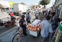 Occidental College hosts New York City Transportation Commissioner Janette Sadik-Khan '82 as she takes a bicycle tour of the neighborhood to a Metro station in Highland Park on Friday, March 19, 2010. President Jonathan Veitch, students, faculty and the public took part. (Photo by Marc Campos, Occidental College Photographer)