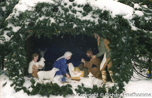 A Chriatmas Creche in front of a Church, in Ste-Marceline, Quebec