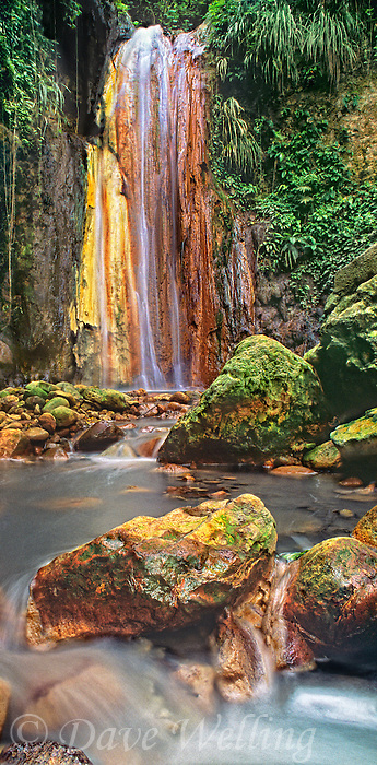 940000005 panoramic view of a peaceful grotto setting frames Diamond Falls with moss covered boulders in the foreground on a private estate on the Caribbean island of Saint Lucia