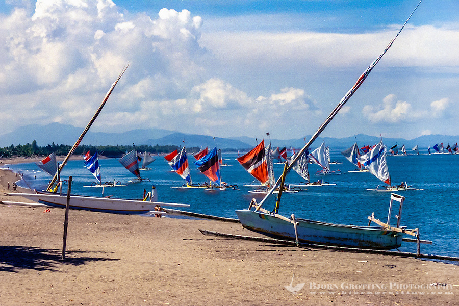 Nusa Tenggara, Lombok, Senggigi. Hundreds of traditional fishingboats heading home in the morning with colourful sails.
