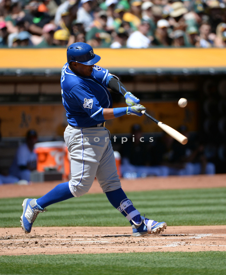Kansas City Royals Salvador Perez (13) during a game against the Oakland A's on April 17, 2016 at Oakland Coliseum in Oakland, CA. The A's beat the Royals 3-2.
