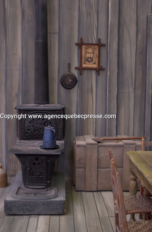 Reconstitution of a  typical rural quebec kitchen with a wood oven in the 1800, used for the movie Un Homme et son peche.<br /> <br /> photo : (c)  Images Distribution