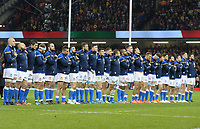 The Italian team during the anthems <br /> <br /> Photographer Ian Cook/CameraSport<br /> <br /> 2018 NatWest Six Nations Championship - Wales v Italy - Sunday 11th March 2018 - Principality Stadium - Cardiff<br /> <br /> World Copyright &copy; 2018 CameraSport. All rights reserved. 43 Linden Ave. Countesthorpe. Leicester. England. LE8 5PG - Tel: +44 (0) 116 277 4147 - admin@camerasport.com - www.camerasport.com