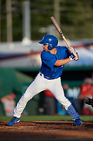 Dunedin Blue Jays Cal Stevenson (8) at bat during a Florida State League game against the Clearwater Threshers on May 11, 2019 at Jack Russell Memorial Stadium in Clearwater, Florida.  Clearwater defeated Dunedin 9-3.  (Mike Janes/Four Seam Images)