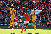 Blackpool's Armand Gnanduillet battles with Milton Keynes Dons' George Williams<br /> <br /> Photographer Alex Dodd/CameraSport<br /> <br /> The EFL Sky Bet League One - Blackpool v MK Dons  - Saturday September 14th 2019 - Bloomfield Road - Blackpool<br /> <br /> World Copyright © 2019 CameraSport. All rights reserved. 43 Linden Ave. Countesthorpe. Leicester. England. LE8 5PG - Tel: +44 (0) 116 277 4147 - admin@camerasport.com - www.camerasport.com