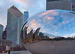 "Chicago, Illinois<br /> Cloud Gate aka ""The Bean"" reflects the city skyline with the Smurfit-Stone Building, in Millennium Park"