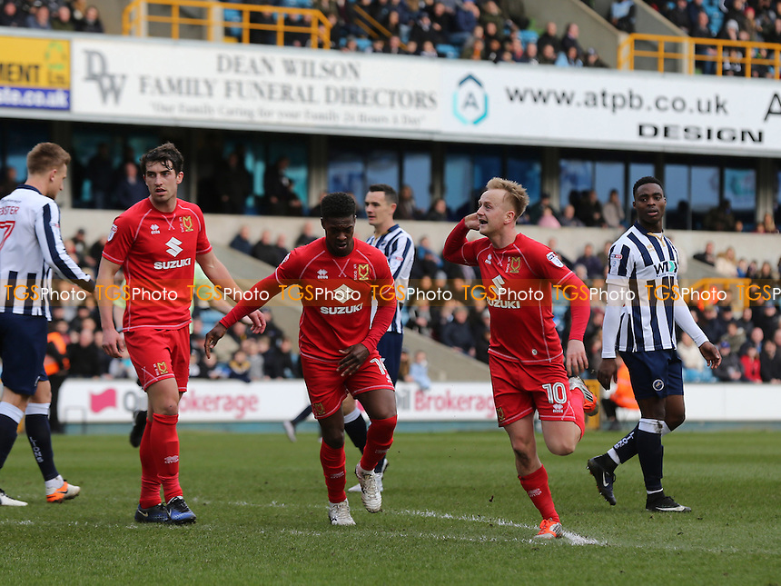 Ben Reeves celebrates scoring MK Dons opening goal during Millwall vs MK Dons, Sky Bet EFL League 1 Football at The Den on 4th March 2017