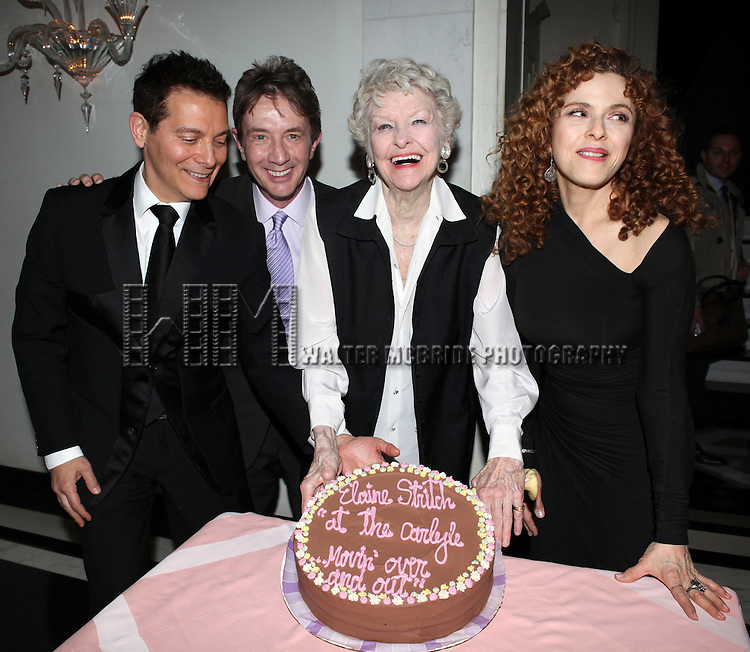 Michael Feinstein, Martin Short, Elaine Stritch & Bernadette Peters attending an after performance reception for  'Elaine Stritch: 'Movin' Over And Out' her final engagement ever at the Cafe Carlyle in New York City on 4/2/2013