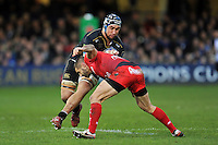 Leroy Houston of Bath Rugby takes on the Toulon defence. European Rugby Champions Cup match, between Bath Rugby and RC Toulon on January 23, 2016 at the Recreation Ground in Bath, England. Photo by: Patrick Khachfe / Onside Images