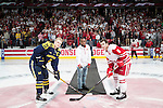 Former Wisconsin football player and Super Bowl LI Champion James White dropped the first puck prior to the Wisconsin Badgers NCAA Big Ten Conference hockey game against the Michigan Wolverines Saturday, February 18, 2017, in Madison, Wisconsin. The Badgers won 6-4. (Photo by David Stluka)