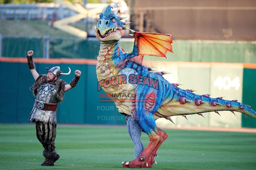 On field Dragon promotion during the Triple-A All-Star game featuring the Pacific Coast League and International League top players at Coca-Cola Field on July 11, 2012 in Buffalo, New York.  PCL defeated the IL 3-0.  (Mike Janes/Four Seam Images)