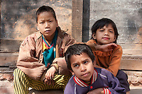Kathmandu, Nepal.  Three Nepali Boys.
