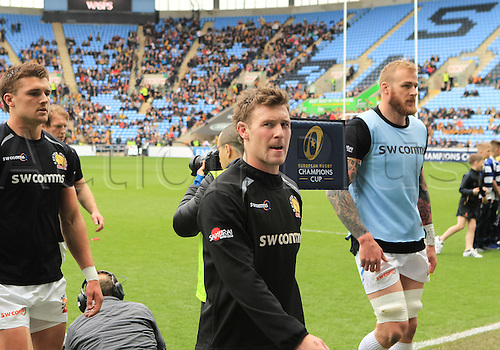 09.04.2016. Ricoh Arena, Coventry, England. European Champions Cup. Wasps versus Exeter Chiefs.  Exters Will Chudley completes his warm-up
