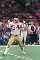 NEW ORLEANS, LA - Matt Millen of the San Francisco 49ers in action celebrating during Super Bowl XXIV against the Denver Broncos at the Superdome in New Orleans, Louisiana on January 28, 1990. Photo by Brad Mangin.