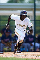 GCL Pirates left fielder Luis Benitez (2) runs to first during a game against the GCL Braves on August 10, 2016 at Pirate City in Bradenton, Florida.  GCL Braves defeated the GCL Pirates 5-1.  (Mike Janes/Four Seam Images)