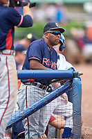 Rome Braves batting coach Bobby Moore (1) in the dugout during a game against the Lexington Legends on May 23, 2018 at Whitaker Bank Ballpark in Lexington, Kentucky.  Rome defeated Lexington 4-1.  (Mike Janes/Four Seam Images)