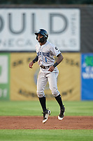 Hudson Valley Renegades left fielder Bryce Brown (1) leads off second base during a game against the Auburn Doubledays on September 5, 2018 at Falcon Park in Auburn, New York.  Hudson Valley defeated Auburn 11-5.  (Mike Janes/Four Seam Images)