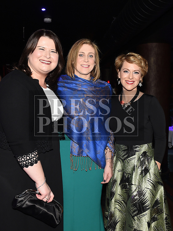 Aisling Teefy, Ann Byrne and Lyndsey McCutchen at the ABACAS Valentine Ball at the Westcourt Hotel. Photo:Colin Bell/pressphotos.ie